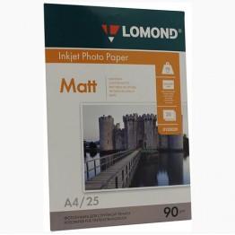 Фотобумага матовая односторонняя (Lomond) A4, 90г/м, 25л. (0102029)