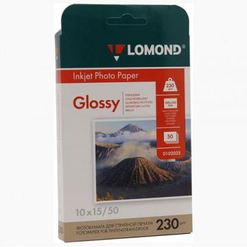 Фотобумага глянцевая односторонняя (Lomond) 10х15, 230г/м, 50л. (0102035)