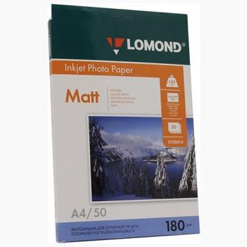 Фотобумага матовая односторонняя (Lomond) A4, 180г/м, 50л. (0102014)
