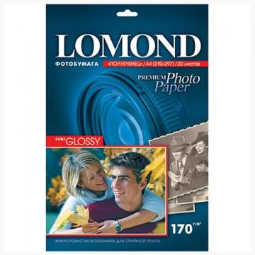 Фотобумага Lomond A4, Semi-Glossy, 170г, 1-ст., 20л. (1101305)