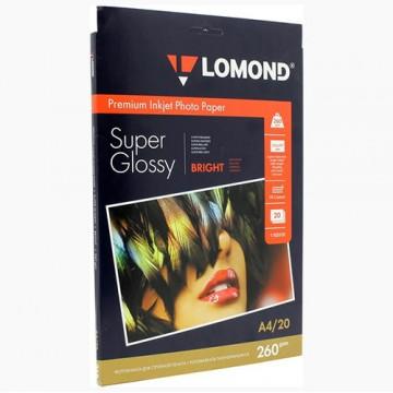 Фотобумага SuperGlossy односторонняя (Lomond) A4, 260г/м, 20л. (1103101)