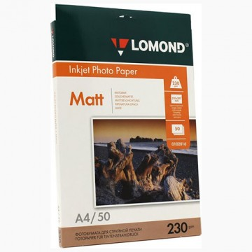 Фотобумага матовая односторонняя (Lomond) A4, 230г/м, 50л. (0102016)