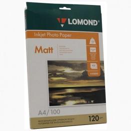 Фотобумага матовая односторонняя (Lomond) A4, 120г/м, 100л. (0102003)