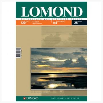Фотобумага матовая односторонняя (Lomond) A4, 120г/м, 25л. (0102030)