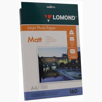 Фотобумага матовая односторонняя (Lomond) A4, 160г/м, 100л. (0102005)