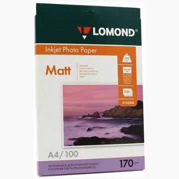 Фотобумага матовая двусторонняя (Lomond) A4, 170г/м, 100л. (0102006)
