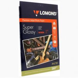 Фотобумага SuperGlossy односторонняя (Lomond) A4, 280г/м, 20л. (1104101)