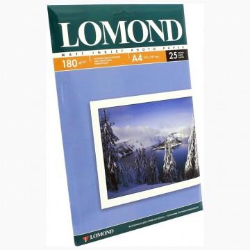 Фотобумага матовая односторонняя (Lomond) A4, 180г/м, 25л (0102037)