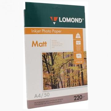 Фотобумага матовая двусторонняя (Lomond) A4, 220г/м, 50л. (0102144)