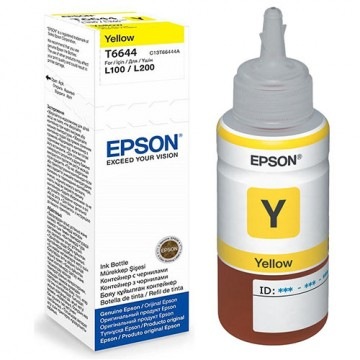 Чернила Epson L100/110/200/210/300/355/550/555 (Original), C13T66444A, Y, 70ml